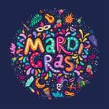 För Mardi Gras Lettering för vektorhand rund form för utdragen inskrift text För partibeståndsdelar för karneval färgrika fyrverk royaltyfri illustrationer