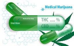 För marijuanakapsel för vektor medicinsk bakgrund för begrepp royaltyfri illustrationer