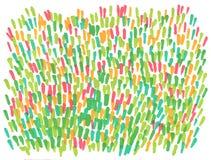 För markörvår för hand utdragen abstrakt bakgrund för gräsmatta stock illustrationer