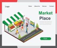 För Market Place för lokal grönsakförsäljare begrepp isometriskt konstverk vektor illustrationer