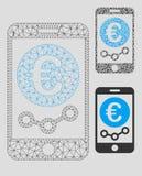 För marknadsövervakning för euro mobil vektor Mesh Carcass Model och mosaisk symbol för triangel stock illustrationer