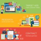 För marknadsföringsbaner för plan stil digital uppsättning Arkivbild