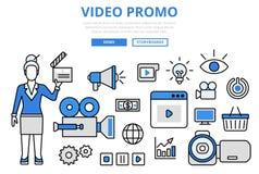 För marknadsföringsbegrepp för video promo digital linje konstvektorsymboler för lägenhet royaltyfri illustrationer