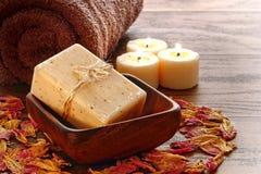 för marseilles för aromatherapy stångbad typ naturlig tvål Arkivbild