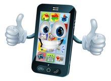 för maskotmobil för tecken lycklig telefon Royaltyfri Bild