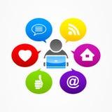 För massmediainternet för affärsman social rengöringsduk för nätverk Arkivbilder