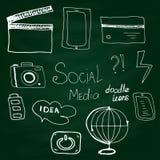 För massmediasymbol för vektor social stil för klotter för uppsättning på Royaltyfri Fotografi