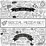 För massmediasymboler för klotter social uppsättning Arkivfoto