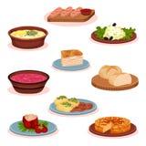 För matdisk för bulgarisk kokkonst nationell uppsättning, traditionell sund matvektorillustration på en vit bakgrund vektor illustrationer