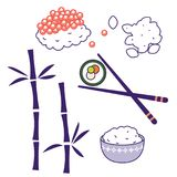 För matkultur för asiatisk kokkonst traditionella objekt för vektor stock illustrationer