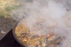 ` För matlagning`-paella, typisk spanjormaträtt, i skogen Arkivbilder