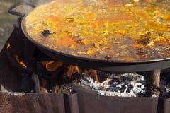 ` För matlagning`-paella, typisk spanjormaträtt, i skogen Royaltyfri Fotografi