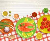 För matlagningbordduk för lägenhet lekmanna- bakgrund för trä vektor illustrationer