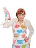 för matlagninghandske för förkläde härlig kvinna för kök arkivfoton