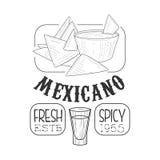 För matmeny för restaurang undertecknar den nya mexicanska promoen skissar in stil med Nachos och doppet, den svartvita designeti vektor illustrationer
