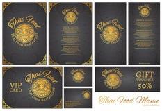 För matrestaurang för vektor thai mall för meny Thailändsk tradition vektor illustrationer