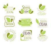 För matsötningsmedel för Stevia naturliga tillsats och Sugar Substitute Set Of Green färgLogo Design Templates With Plant sidor Royaltyfri Fotografi