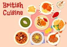 För matställemeny för brittisk kokkonst traditionell symbol vektor illustrationer