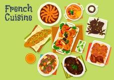För matställemeny för fransk kokkonst festlig design för symbol royaltyfri illustrationer