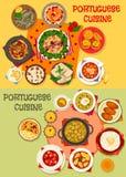 För matställemeny för portugisisk kokkonst havs- uppsättning för symbol stock illustrationer