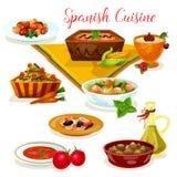 För matställemeny för spansk kokkonst smaklig symbol för tecknad film royaltyfri illustrationer