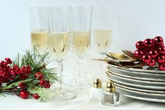 För matställeparti för glad jul beröm royaltyfri foto