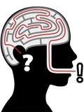 för mazeperson för svar head silhouette för fråga för pussel Royaltyfria Bilder