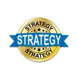 För medaljrengöringsduk för strategi blå guld- rund skyddsremsa vektor illustrationer
