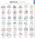 För medicinfärg för vektor medicinsk linje översiktssymboler för lägenhet för apps och rengöringsdukdesign Medicinska sjukvårdsym vektor illustrationer