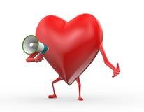 för megafonmeddelande för hjärta 3d illustration Royaltyfri Fotografi