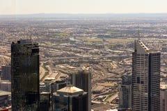 för melbourne Australien för center stad finansiell yarra för sikt för horisont flod Arkivfoto