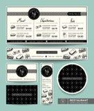 För menyrestaurang för smörgås fastställd mall för grafisk design Arkivbild