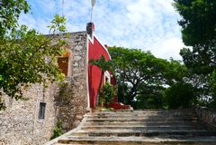 För Merida Churbunacolonial för mexikan kyrklig historia arkitektur arkivfoton