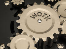 För metallkugghjul för abstrakt maskin klassisk stil, med ordarbete Arkivfoton