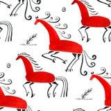 För Mezen för sömlös modell illustration för vattenfärg för häst traditionell målning Arkivfoto