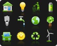 för miljösymbol för bakgrund svart set Royaltyfri Bild