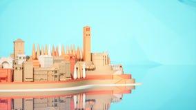 För mini- leksak gammal för stad stad ner på liten iland, tolkning 3d Arkivbild