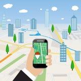 För mobiltelefonlägenhet för hand hållande illustration royaltyfri illustrationer