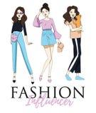 För modeinfluencert-skjorta eller affisch design med stilfulla flickor vektor illustrationer