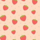 För modellbakgrund för gullig älskvärd jordgubbe sömlös illustration Fotografering för Bildbyråer