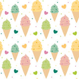 För modellbakgrund för gullig färgrik glass sömlös illustration Royaltyfri Foto