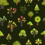 För modellbakgrund för grönt träd sömlös kontur för gräsplan för vektor för samling för design för emblem för företagsnatureco Arkivfoton