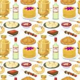 För modellbakgrund för traditionell rysk kokkonst sömlös välkomnande för mat för kurs för maträtt för kultur till Ryssland gourme stock illustrationer