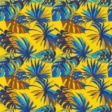 För modellbakgrund för tropisk djungel blom- sömlösa Palm Beach sidor vektor illustrationer