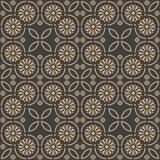 För modellbakgrund för vektor arg ram för damast sömlös retro kurva för runda, kedjelinje blomma Elegant lyxig brun signaldesign  stock illustrationer