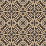 För modellbakgrund för vektor blomma för blad för kedja för ram för damast sömlös retro polygon arg Elegant lyxig brun signaldesi vektor illustrationer