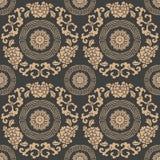 För modellbakgrund för vektor blomma för blad för krans för vinranka för ram för damast sömlös retro kurva för runda spiral arg E stock illustrationer