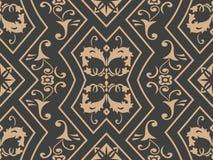För modellbakgrund för vektor blomma för blad för vinranka för kedja för ram för damast sömlös retro för polygon kurva för geomet royaltyfri illustrationer