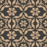 För modellbakgrund för vektor blomma för blad för vinranka för ram för damast sömlös retro kurva orientalisk spiral arg Elegant l royaltyfri illustrationer