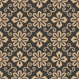För modellbakgrund för vektor blomma för blad för vinranka för ram för damast sömlös retro kurva spiral arg Elegant lyxig brun si royaltyfri illustrationer